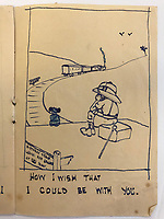 """BNPS.co.uk (01202) 558833<br /> Pic: Tennants/BNPS<br /> <br /> Dreaming of England, one of Captain Harry Witheford's sketches. """"How I wish I could be with you""""<br /> <br /> Cartoon drawings and photographs documenting life in a brutal Japanese prisoner of war camp have been found in an archive belonging to a former soldier. <br /> <br /> The satirical sketches depicting the plight of the British PoWs were produced in secret by Captain Harry Witheford and fell inmate Ronald Searle, the famous illustrator. <br /> <br /> The scenes included the notorious Changi PoW camp in Singapore and the building of the 'Death Railway' along the River Kwai in Burma. <br /> <br /> There are three previously unseen cartoons by Searle. <br /> <br /> One is a sketch to mark Capt Witheford's wife Edna's birthday on April 10, 1944, which shows four officers wearing only loincloths toasting her with mugs of beer.<br /> <br /> Searle also created a calendar for his friend which depicted an image of an army officer lying besides a naked blonde woman. <br /> <br /> Capt Witheford's accomplished work includes a drawing of a prisoner having a bath covered in sunburns from working on the railway."""