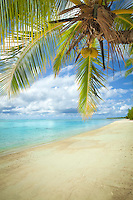 A view of Amuri Beach from the ocean, Aitutaki Island, Cook Islands.