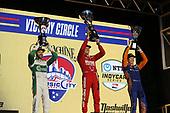 #8: Marcus Ericsson, Chip Ganassi Racing Honda   winner #9: Scott Dixon, Chip Ganassi Racing Honda   2nd place and   #29: James Hinchcliffe, Andretti Steinbrenner Autosport Honda   3rd place  podium