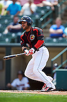 Rochester Red Wings designated hitter Josmil Pinto (39) at bat during a game against the Norfolk Tides on May 3, 2015 at Frontier Field in Rochester, New York.  Rochester defeated Norfolk 7-3.  (Mike Janes/Four Seam Images)