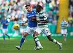 Celtic v St Johnstone...29.08.15  SPFL   Celtic Park<br /> Graham Cummins goes shoulder to shoulder with Dedrick Boyata<br /> Picture by Graeme Hart.<br /> Copyright Perthshire Picture Agency<br /> Tel: 01738 623350  Mobile: 07990 594431