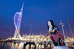 United Kingdom, England, Hampshire, Portsmouth: The Spinnaker Tower and shops at Gunwharf Quay
