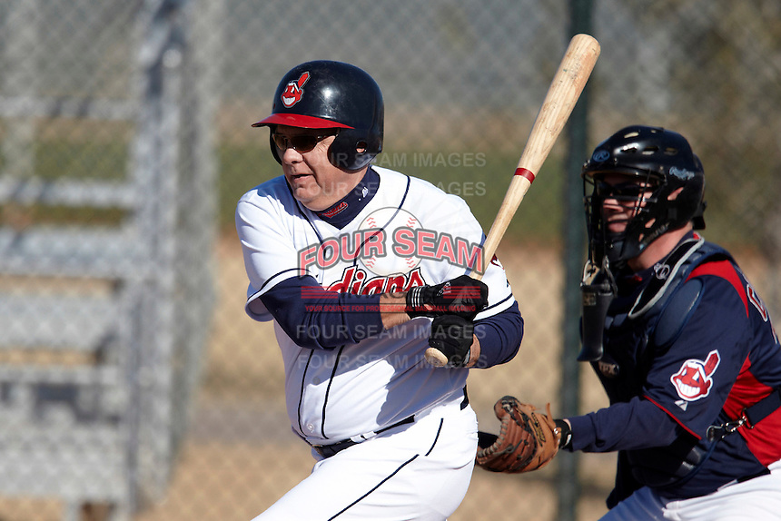 Cleveland Indians Fantasy Camp member at bat during a game at Goodyear Training Complex on January 19, 2012 in Goodyear, Arizona.  (Mike Janes/Four Seam Images)