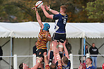 Leinster flanker Peadar Timmins and Quins lock Shaun Jones compete for the lineout ball.<br /> British & Irish Cup<br /> Carmarthen Quins v Leinster A<br /> Carmarthen Park<br /> 25.10.14<br /> ©Steve Pope-SPORTINGWALES
