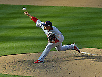 10 October 2012: St. Louis Cardinals pitcher Fernando Salas in action during Postseason Playoff Game 3 of the National League Divisional Series against the Washington Nationals at Nationals Park in Washington, DC. The Cardinals shut out the Nationals 8-0 in the third game of their best of five series, giving St. Louis a 2-1 lead in the playoff. Mandatory Credit: Ed Wolfstein Photo