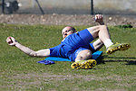 St Johnstone Training...23.04.21<br />Shaun Rooney pictured during training this morning ahead of Sundays Scottish Cup game against Rangers.<br />Picture by Graeme Hart.<br />Copyright Perthshire Picture Agency<br />Tel: 01738 623350  Mobile: 07990 594431