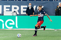 FOXBOROUGH, MA - OCTOBER 3: Gustavo Bou #7 of New England Revolution dribbles at midfield during a game between Nashville SC and New England Revolution at Gillette Stadium on October 3, 2020 in Foxborough, Massachusetts.