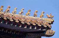 China, Kaiserpalast von Peking, Dachreiter an Pavillon bei Halle der höchsten Harmonie, Unesco-Weltkulturerbe