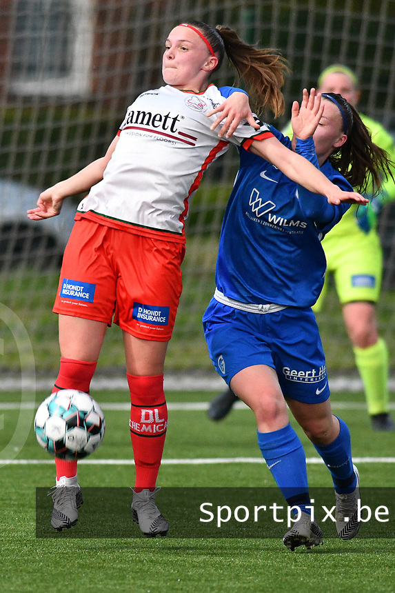 Maite De Baets (16) of Zulte Waregem and Fleur Pauwels (66) of KRC Genk pictured during a female soccer game between  Racing Genk Ladies and SV Zulte-Waregem on the 7 th matchday of play off 2 in the 2020 - 2021 season of Belgian Scooore Womens Super League , friday 14 th of May 2021  in Genk , Belgium . PHOTO SPORTPIX.BE | SPP | JILL DELSAUX