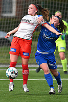 Maite De Baets (16) of Zulte Waregem and Fleur Pauwels (66) of KRC Genk pictured during a female soccer game between  Racing Genk Ladies and SV Zulte-Waregem on the 7 th matchday of play off 2 in the 2020 - 2021 season of Belgian Scooore Womens Super League , friday 14 th of May 2021  in Genk , Belgium . PHOTO SPORTPIX.BE   SPP   JILL DELSAUX