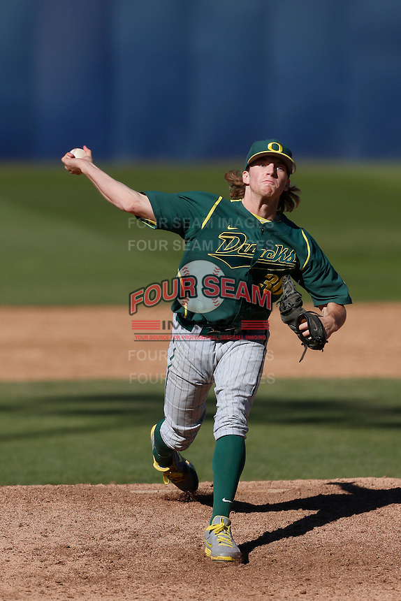 Jimmie Sherfy #30 of the Oregon Ducks pitches against the Cal State Fullerton Titans at Goodwin Field on March 3, 2013 in Fullerton, California. (Larry Goren/Four Seam Images)