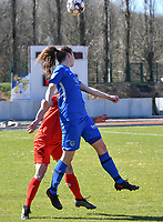 forward Hanne Merkelbach (25) of KRC Genk pictured during a female soccer game between FC Femina White Star Woluwe and KRC Genk on the 17 th matchday of the 2020 - 2021 season of Belgian Scooore Womens Super League , Saturday 20 th of March 2021  in Woluwe , Belgium . PHOTO SPORTPIX.BE | SPP | JILL DELSAUX
