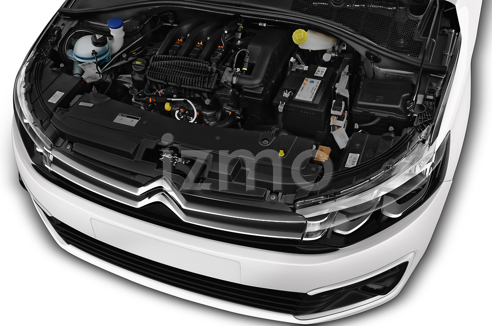Car stock 2017 Citroen C-Elysee Live 4 Door Sedan engine high angle detail view