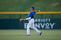 AZL Cubs 1 right fielder Ezequiel Pagan (1) throws to second base during an Arizona League game against the AZL Angels on June 24, 2019 at Sloan Park in Mesa, Arizona. AZL Cubs 1 defeated the AZL Angels 12-0. (Zachary Lucy / Four Seam Images)