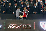 Athletic de Bilbao's Gorka Iraizoz (l) and Carlos Gurpegui with the Second Classified Trophy of Spanish King's Cup Final match in presence of King Felipe VI of Spain. May 30,2015. (ALTERPHOTOS/Acero)