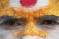 Close up of a Sadhus face at Shambhu Nath Hindu traditional Cremation Area