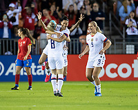 HOUSTON, TX - FEBRUARY 03: Christen Press #20 celebrates her first goal with Julie Ertz #8 and Lindsey Horan #9 of the USA during a game between Costa Rica and USWNT at BBVA Stadium on February 03, 2020 in Houston, Texas.