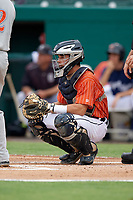 Lakeland Flying Tigers catcher Brady Policelli during the second game of a doubleheader against the St. Lucie Mets on June 10, 2017 at Joker Marchant Stadium in Lakeland, Florida.  Lakeland defeated St. Lucie 9-1.  (Mike Janes/Four Seam Images)