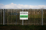 A sign at the Look Now Stadium indicating that  Stocksbridge have benefited from Premier League funding. Stocksbridge Park Steels v Pickering Town, Evo-Stik East Division, 17th November 2018. Stocksbridge Park Steels were born from the works team of the local British Steel plant that dominates the town north of Sheffield.<br /> Having missed out on promotion via the play offs in the previous season, Stocksbridge were hovering above the relegation zone in Northern Premier League Division One East, as they lost 0-2 to Pickering Town. Stocksbridge finished the season in 13th place.