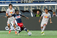 FOXBOROUGH, MA - AUGUST 29: Kaku #10 of New York Red Bulls pushes pass just beyond Cristian Penilla #70 of New England Revolution during a game between New York Red Bulls and New England Revolution at Gillette Stadium on August 29, 2020 in Foxborough, Massachusetts.