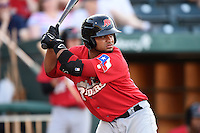 Frisco Rough Riders designated hitter Tomas Telis (13) at bat during a game against the Springfield Cardinals on June 1, 2014 at Hammons Field in Springfield, Missouri.  Springfield defeated Frisco 3-2.  (Mike Janes/Four Seam Images)