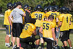 August 14, 2017- Tuscola, IL- Warrior coach Andy Romine talks to his players during preseason practice at TCHS. Photo: Douglas Cottle]