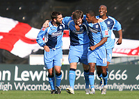 Tommy Doherty, Gavin Grant, (No 18) and Leon Johnson congratulate Mike Williamson after scoring a goal for Wycombe Wanderers during Wycombe Wanderers vs Dagenham & Redbridge, Coca Cola League Division Two Football at Adams Park on 20th September 2008
