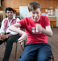 Participant and his carer, Movement & Music, Learning Support group with their carers,  Adult Learning Centre, Guildford, Surrey.