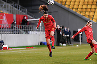 Silke Vanwynsberghe (18) of Belgium  pictured during the warming up of  a friendly female soccer game between the national teams of Germany and  Belgium , called the Red Flames  in a pre - bid tournament called Three Nations One Goal with the national teams from Belgium , The Netherlands and Germany towards a bid for the hosting of the 2027 FIFA Women's World Cup , on Sunday 21 st of February 2021  in Aachen , Germany . PHOTO SPORTPIX.BE   SPP   STIJN AUDOOREN