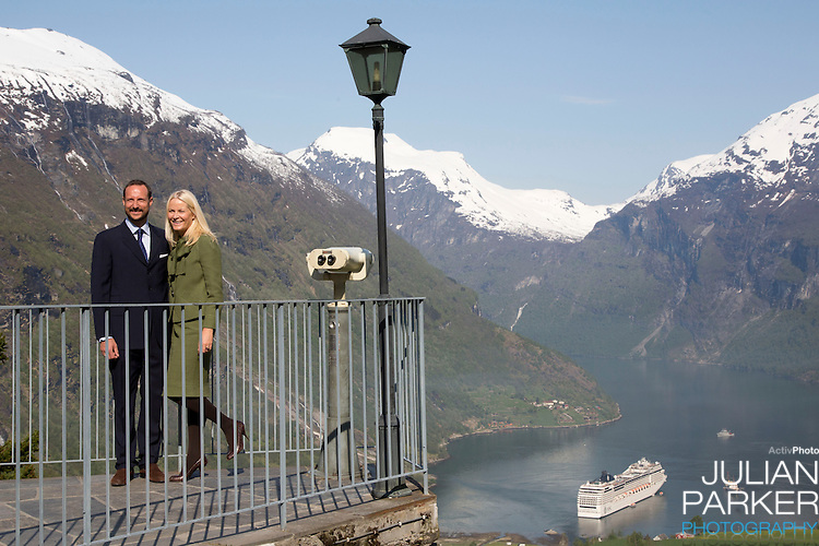 """Crown Prince Haakon, and Crown Princess Mette-Marit of Norway on the first day of their 3 day county trip to More & Romsdal..Visit """" Geiranger Fjord """" with their son Prince Sverre Magnus"""