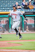 Ronny Cedeno (5) of the Sacramento River Cats in action against the Salt Lake Bees in Pacific Coast League action at Smith's Ballpark on April 20, 2015 in Salt Lake City, Utah.  (Stephen Smith/Four Seam Images)