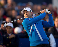 26.09.2014. Gleneagles, Auchterarder, Perthshire, Scotland.  The Ryder Cup, Day 1.  Sergio Garcia (EUR) on the 17th tee during the Friday Foursomes.