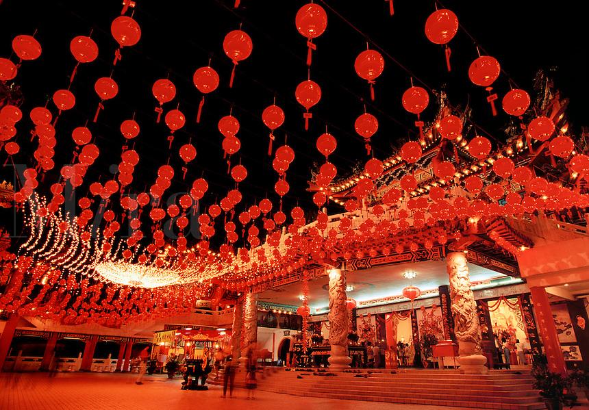 Thean Hou temple with Chinese New Year lights Kuala Lumpur Malaysia.