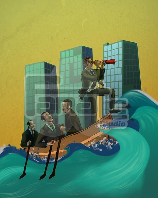 Businessmen in a boat