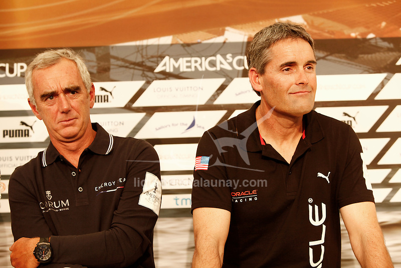America's Cup World Series skippers press conference,  in Cascais Portugal. Loick Peyron, Russell Coutts.