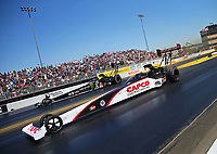 Jul 30, 2017; Sonoma, CA, USA; NHRA top fuel driver Steve Torrence (near) defeats Brittany Force during the Sonoma Nationals at Sonoma Raceway. Mandatory Credit: Mark J. Rebilas-USA TODAY Sports
