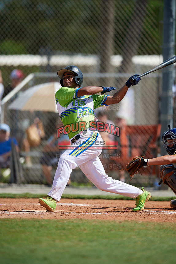 Adonis Javier during the WWBA World Championship at the Roger Dean Complex on October 20, 2018 in Jupiter, Florida.  Adonis Javier is a shortstop from Kissimmee, Florida who attends Central Pointe Christian Academy.  (Mike Janes/Four Seam Images)