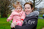 Little Sienna McCormick with her nan Helena Coffey enjoying a stroll in the Tralee town park on Monday.