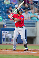 Frisco RoughRiders catcher Jorge Alfaro (8) at bat during the Texas League game against the Tulsa Drillers at ONEOK field on August 15, 2014 in Tulsa, Oklahoma  The RoughRiders defeated the Drillers 8-2.  (William Purnell/Four Seam Images)