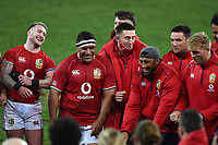 (L to R) Stuart Hogg, Mako Vunipola, Josh Adams, Budee Aki, Zander Fagerson and Chris Harris - British & Irish Lions players following an historic 17-22 victory over the Springboks in the 1st Test match of three in the series.<br /> South Africa v British & Irish Lions, 1st Test, Cape Town Stadium, Cape Town, South Africa,  Saturday 24th July 2021. <br /> Please credit: FOTOSPORT/DAVID GIBSON