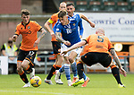 Dundee United v St Johnstone…..01.08.20   Tannadice  SPFL<br />Callum Hendry gets between Jamie Robson and Mark Connolly<br />Picture by Graeme Hart.<br />Copyright Perthshire Picture Agency<br />Tel: 01738 623350  Mobile: 07990 594431