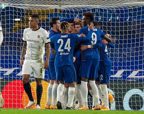 4th November 2020, Stamford Bridge, London, England;  Chelseas players celebrate the first goal by Timo Werner during the UEFA Champions League Group E match between Chelsea and Rennes at Stamford Bridge