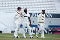 Kemar Roach (c) congratulated following his fourth wicket during Surrey CCC vs Hampshire CCC, LV Insurance County Championship Group 2 Cricket at the Kia Oval on 1st May 2021