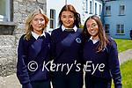 Students graduating from Presentation Secondary School Castleisland on Monday. L to r: Amy Walsh, Ciara Sheehan and Alanna Gleenon.