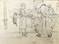 BNPS.co.uk (01202 558833)<br /> Pic: StroudAuctions/BNPS<br /> <br /> Pictured: There is a sombre pencil sketch of a soldier on the operating table surrounded by a nurse and doctors.<br /> <br /> The poignant sketchbook of a World War One surgeon has been unearthed a century later.<br /> <br /> Captain Theodore Howard Somervell, of the Royal Medical Corps, treated hundreds of wounded Tommies in a field hospital at the Battle of the Somme. <br /> <br /> He was one of just four surgeons working flat-out in a tent, as scores of casualties lay dying on stretchers outside on the bloodiest in British military history.<br /> <br /> There is a sombre pencil sketch of a soldier on the operating table surrounded by a nurse and doctors. Another watercolour shows the bodies of soldiers strewn on a boggy Western Front battlefield.<br /> <br /> Capt Somervell, who was Mentioned In Despatches, drew landmarks including churches which were reduced to rubble in the deadly barrage. He also took rare photos of life on the frontline, including some taken inside an operating theatre. His sketchbook is being sold by a direct descendant with Stroud Auctions, of Gloucs.