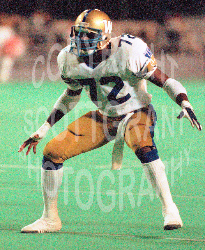 Delbert Fowler Winnipeg Blue Bombers 1986. Photo F. Scott Grant