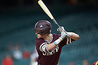 Jake Mangum (15) of the Mississippi State Bulldogs at bat against the Louisiana Ragin' Cajuns in game three of the 2018 Shriners Hospitals for Children College Classic at Minute Maid Park on March 2, 2018 in Houston, Texas.  The Bulldogs defeated the Ragin' Cajuns 3-1.   (Brian Westerholt/Four Seam Images)