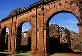 Missiones, Brazil. Derelict ruins of Sao Miguel Jesuit colonial church by Giovanni Battista Primoli. Rio Grande do Sul State.