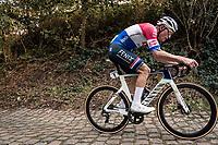 Dutch National Champion Mathieu Van der Poel (NED/Alpecin-Fenix) up the mean (and newly introduced) Moskesstraat cobbles<br /> <br /> 60th De Brabantse Pijl 2020 - La Flèche Brabançonne (1.Pro)<br /> 1 day race from Leuven to Overijse (BEL/197km)<br /> <br /> ©kramon
