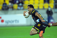 Chiefs' Chase Tiatia makes a break during the Super Rugby Aotearoa match between the Hurricanes and Chiefs at Sky Stadium in Wellington, New Zealand on Saturday, 20 March 2020. Photo: Dave Lintott / lintottphoto.co.nz